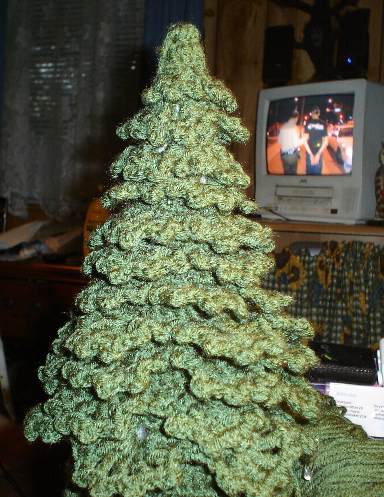 Started out making a green crocheted christmas tree with a fully